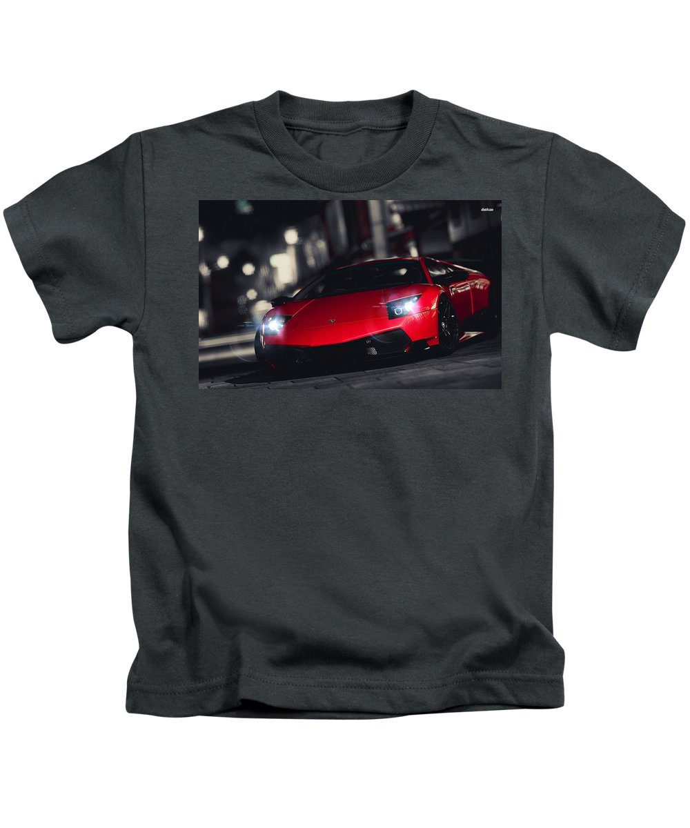 6 Lamborghini Murcielago Kids T-Shirt featuring the digital art 36619 Lamborghini Murcielago by Rose Lynn