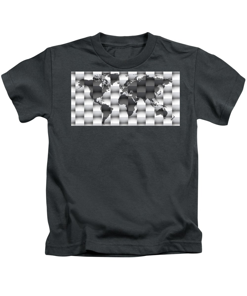 Map Of The World Kids T-Shirt featuring the digital art 3d Black And White World Map Composition by Alberto RuiZ