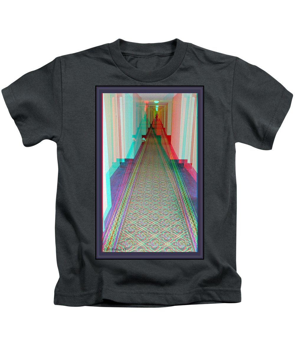 3d Kids T-Shirt featuring the photograph 3d Hotel Hallway by Brian Wallace