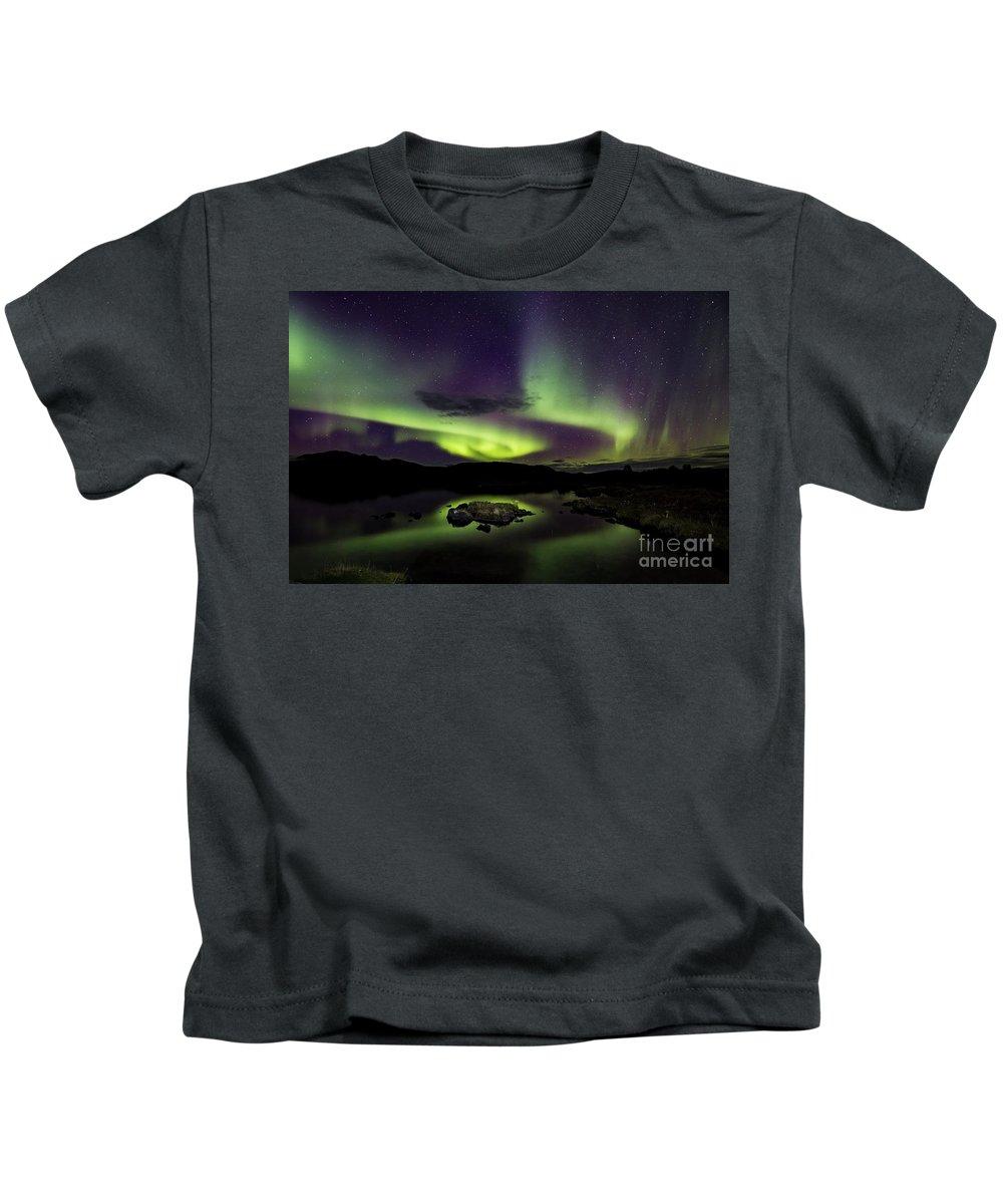29.09.16 Kids T-Shirt featuring the photograph Aurora Borealis Over Iceland by Gunnar Orn Arnason