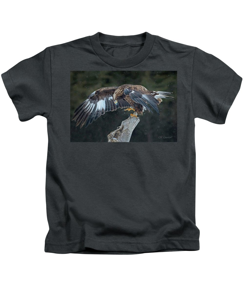 Eagle Kids T-Shirt featuring the photograph Golden Eagle by CR Courson