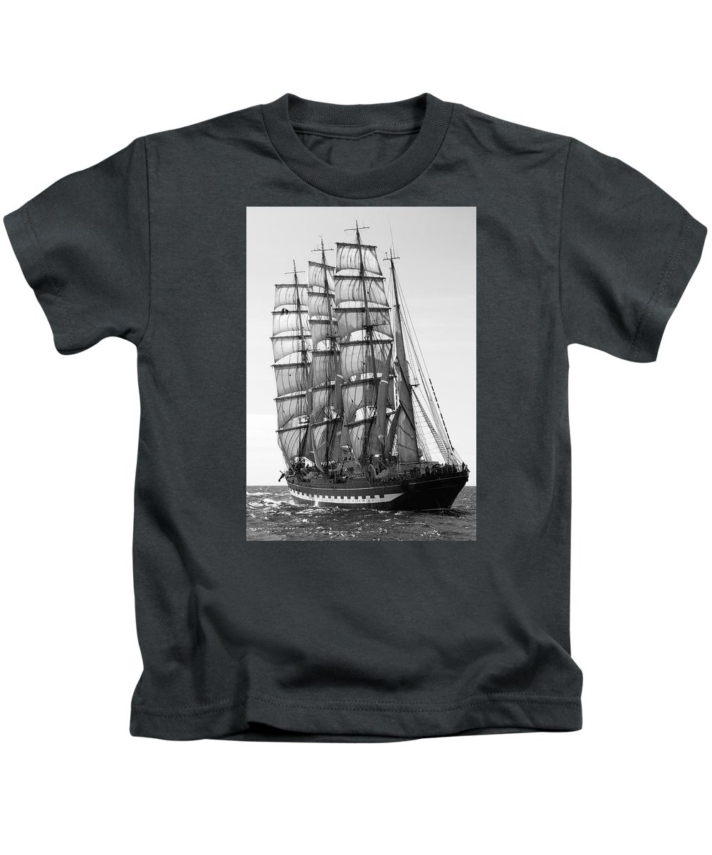 tall Ship Kids T-Shirt featuring the photograph 4-masted Schooner by Daniel Hagerman