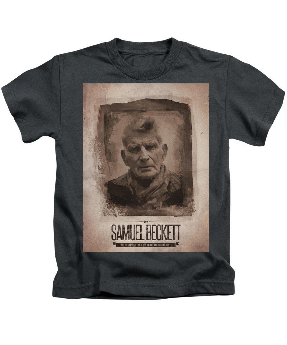 Samuel Beckett Kids T-Shirt featuring the digital art Samuel Beckett 02 by Afterdarkness