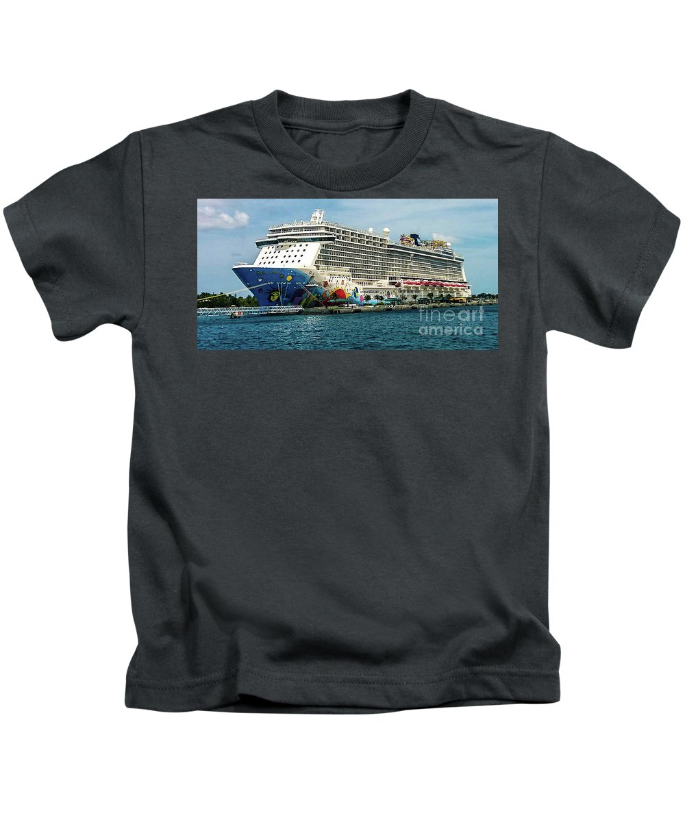 This Is Photo Of Breakaway Cruise Ship In The Bahamas Island. Kids T-Shirt featuring the photograph The Breakaway by William Rogers