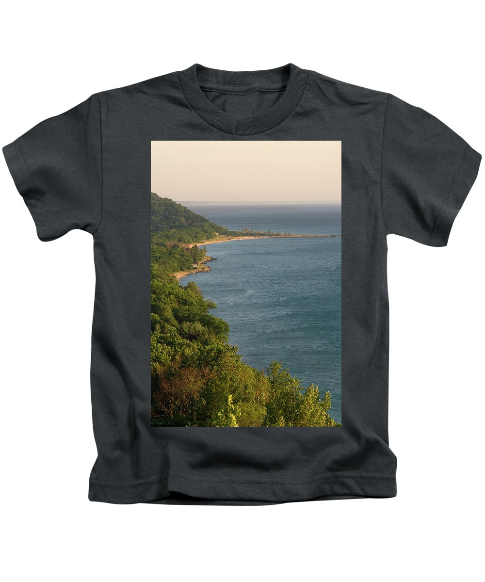 Arcadia Michigan Kids T-Shirt featuring the photograph The Point by Linda Kerkau
