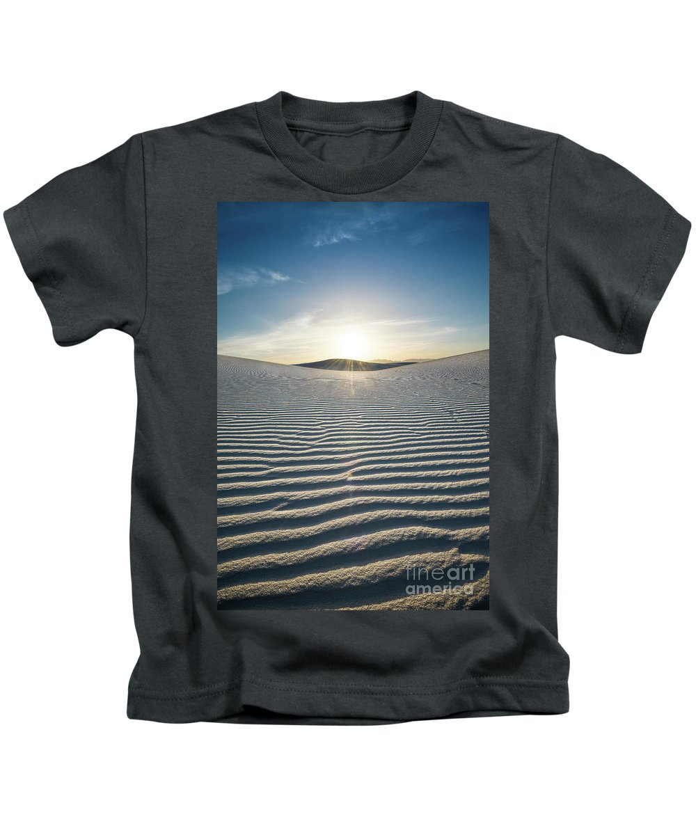 White Sands National Monument Kids T-Shirt featuring the photograph The Unique And Beautiful White Sands National Monument In New Mexico. by Jamie Pham