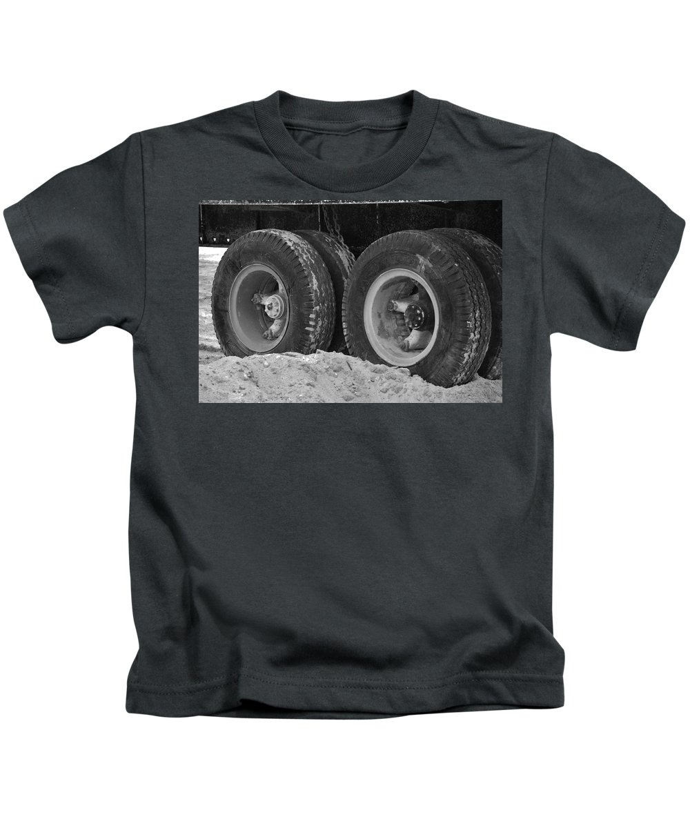 Black And White Kids T-Shirt featuring the photograph 4 Wheels And Sand by Rob Hans
