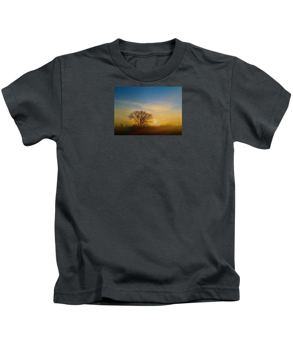 Mist Kids T-Shirt featuring the photograph 4093 by Peter Holme III