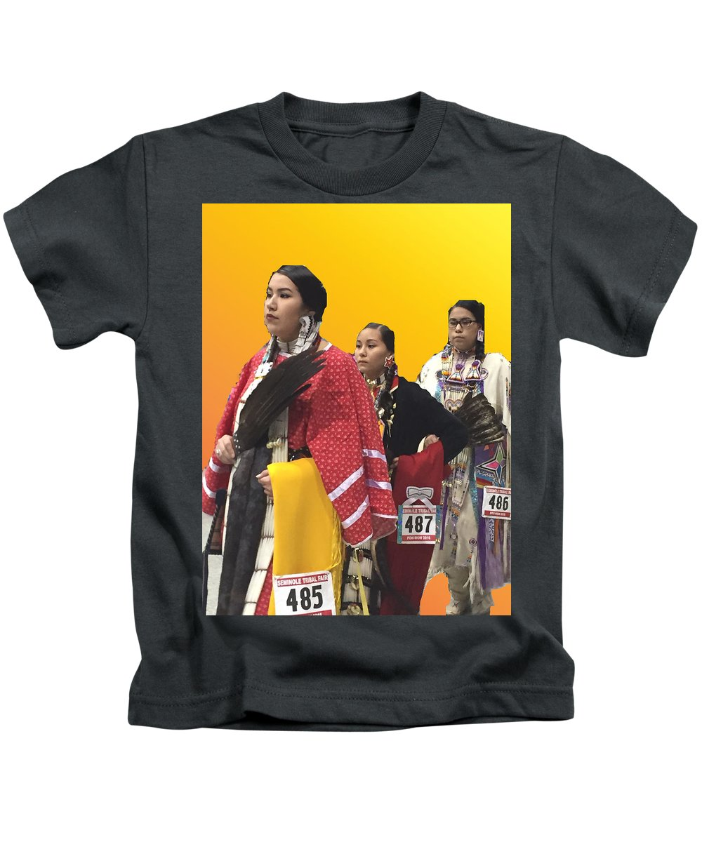 Native Americans Kids T-Shirt featuring the photograph 485 486 487 by Audrey Robillard