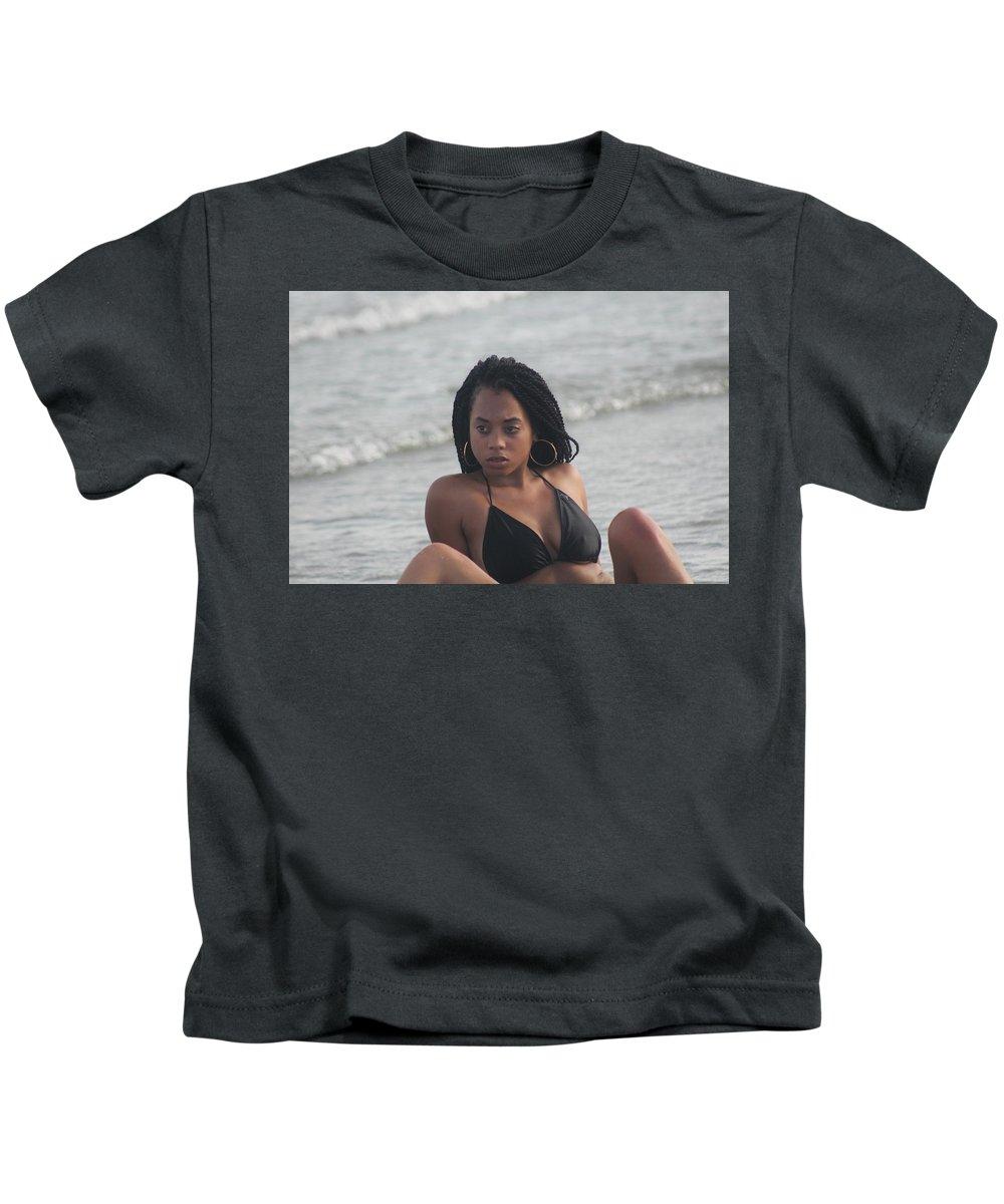 Ebony Kids T-Shirt featuring the photograph Black Bikinis 49 by Christopher White