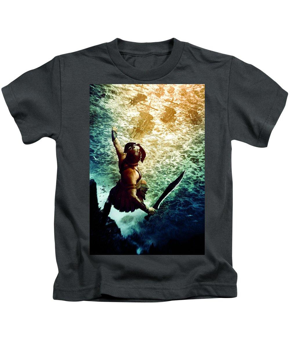 Kids T-Shirt featuring the digital art 300 Rise Of An Empire 2014 by Geek N Rock