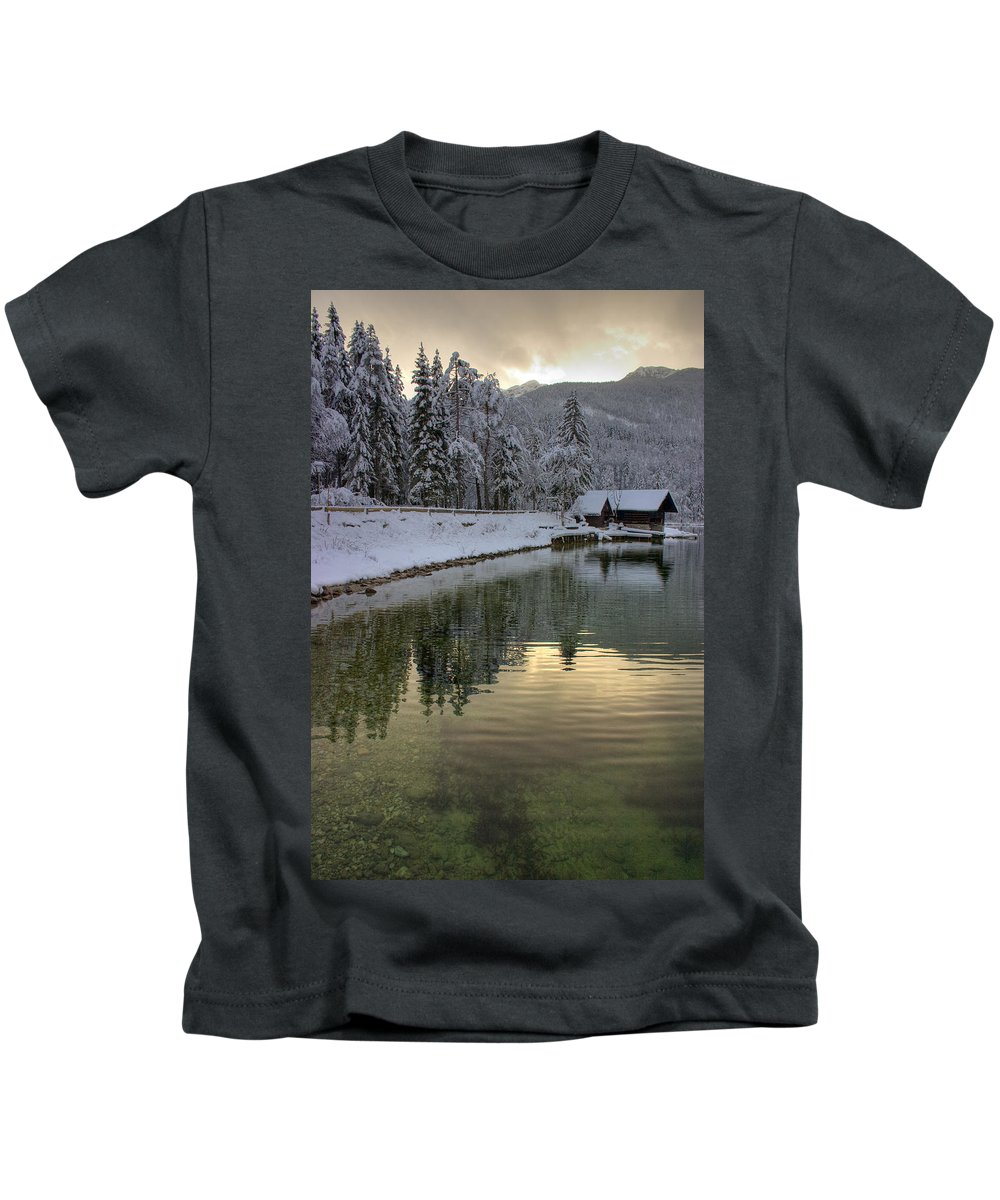 Winter Kids T-Shirt featuring the photograph Alpine Winter Reflections by Ian Middleton
