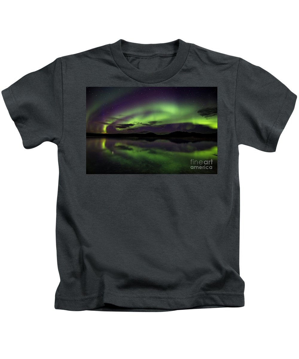 29.09.16 Kids T-Shirt featuring the photograph Aurora Borealis Over Iceland by Gunnar Orn Arnason