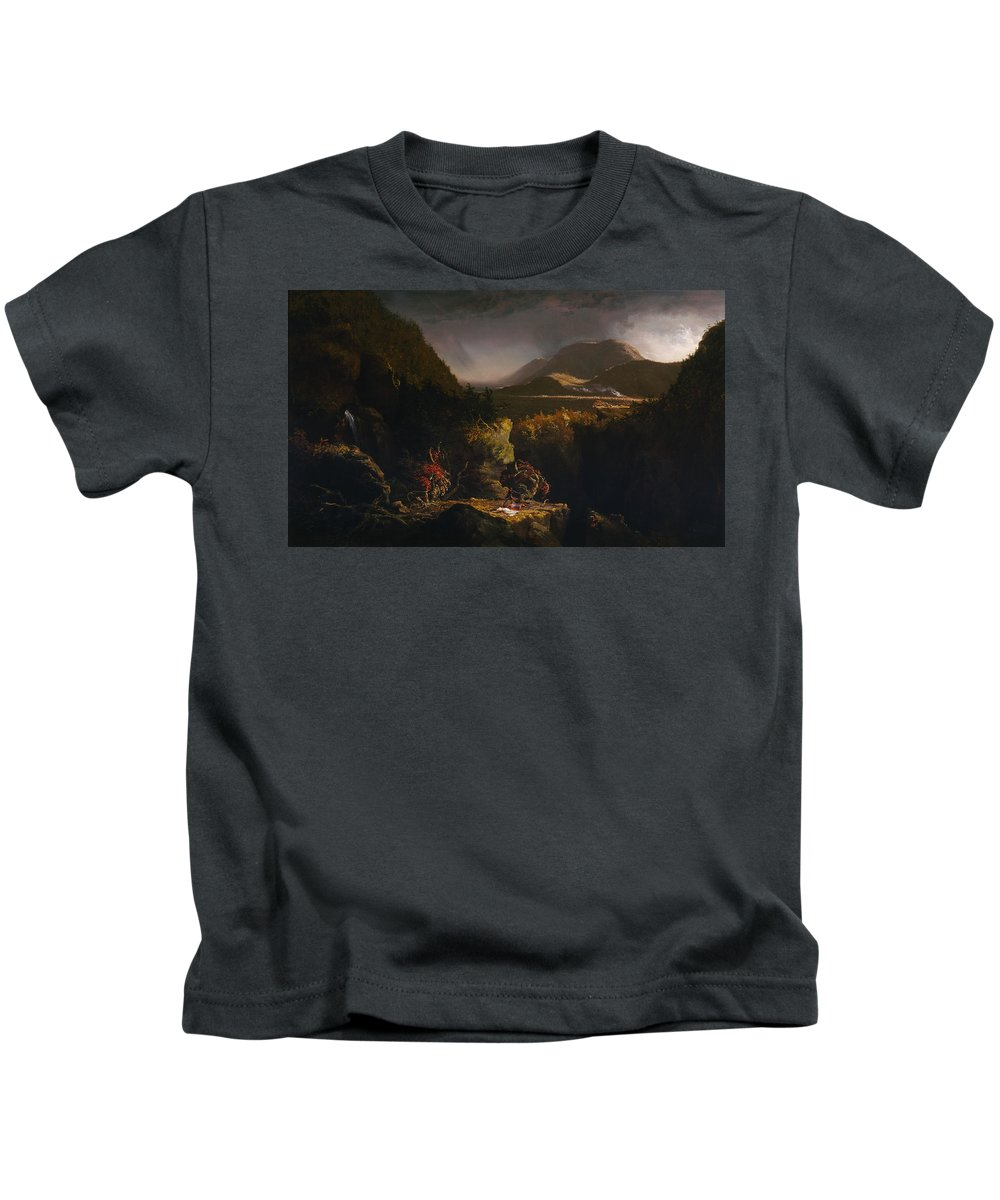 Thomas Cole Kids T-Shirt featuring the painting Landscape With Figures by Thomas Cole