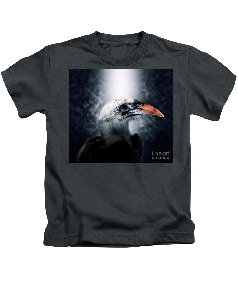 Red-billed Kids T-Shirt featuring the photograph Red-billed Hornbill ,samburu, Kenya by Humourous Quotes
