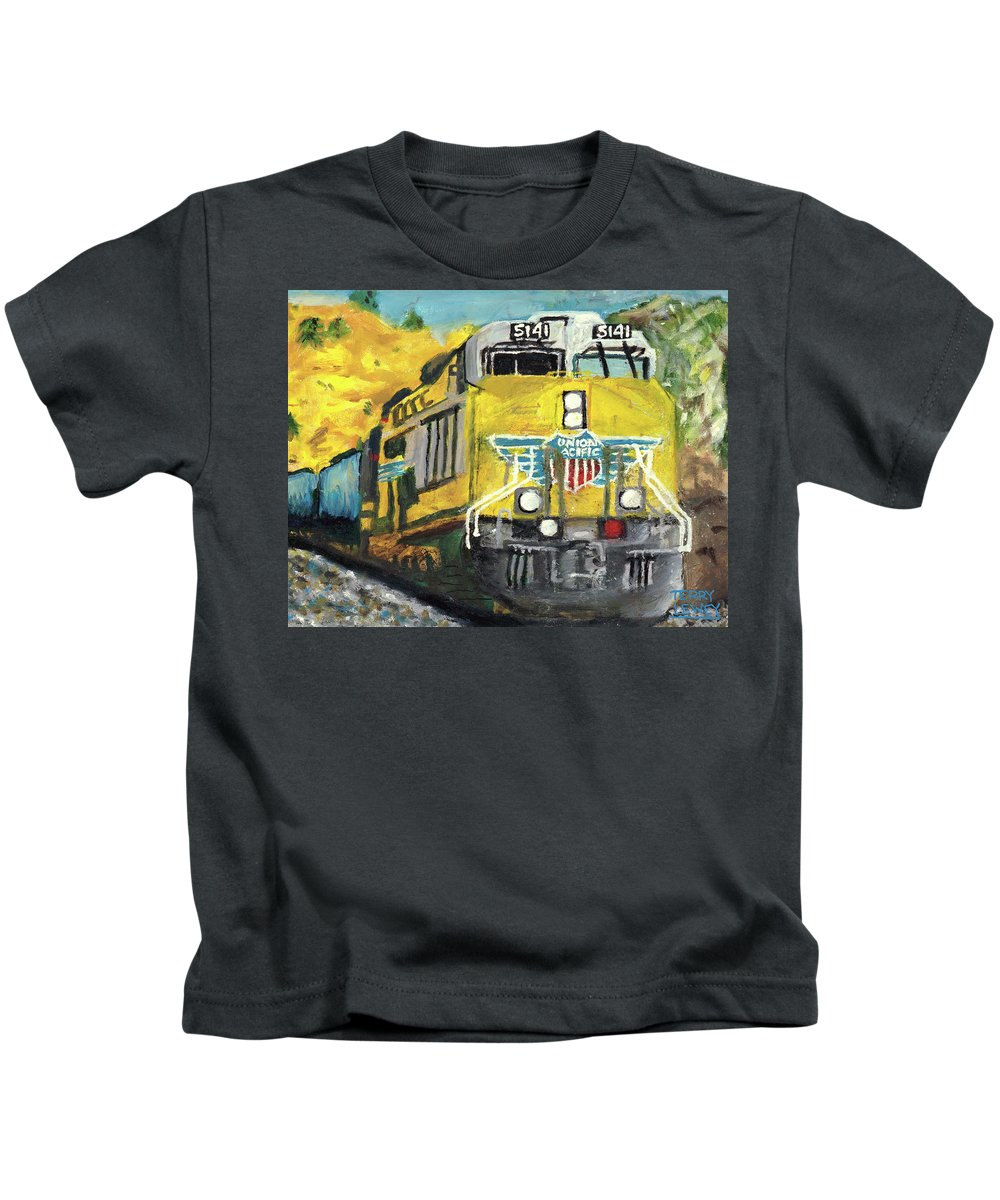 Train Kids T-Shirt featuring the painting 5141 by Terry Lewey