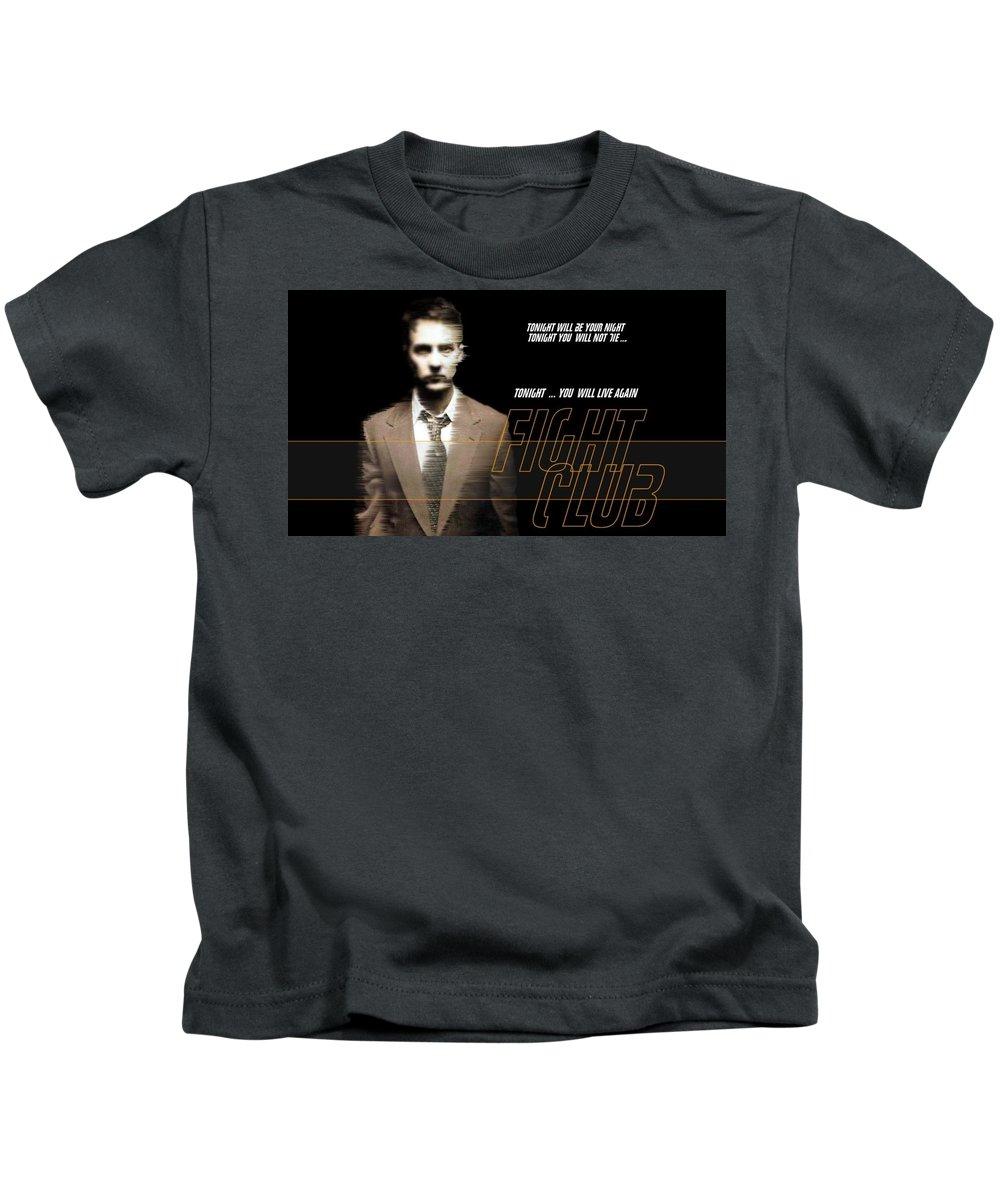 9 Fight Club Hd S Black Kids T-Shirt featuring the digital art 5499 Fight Club Hd S Black by Rose Lynn