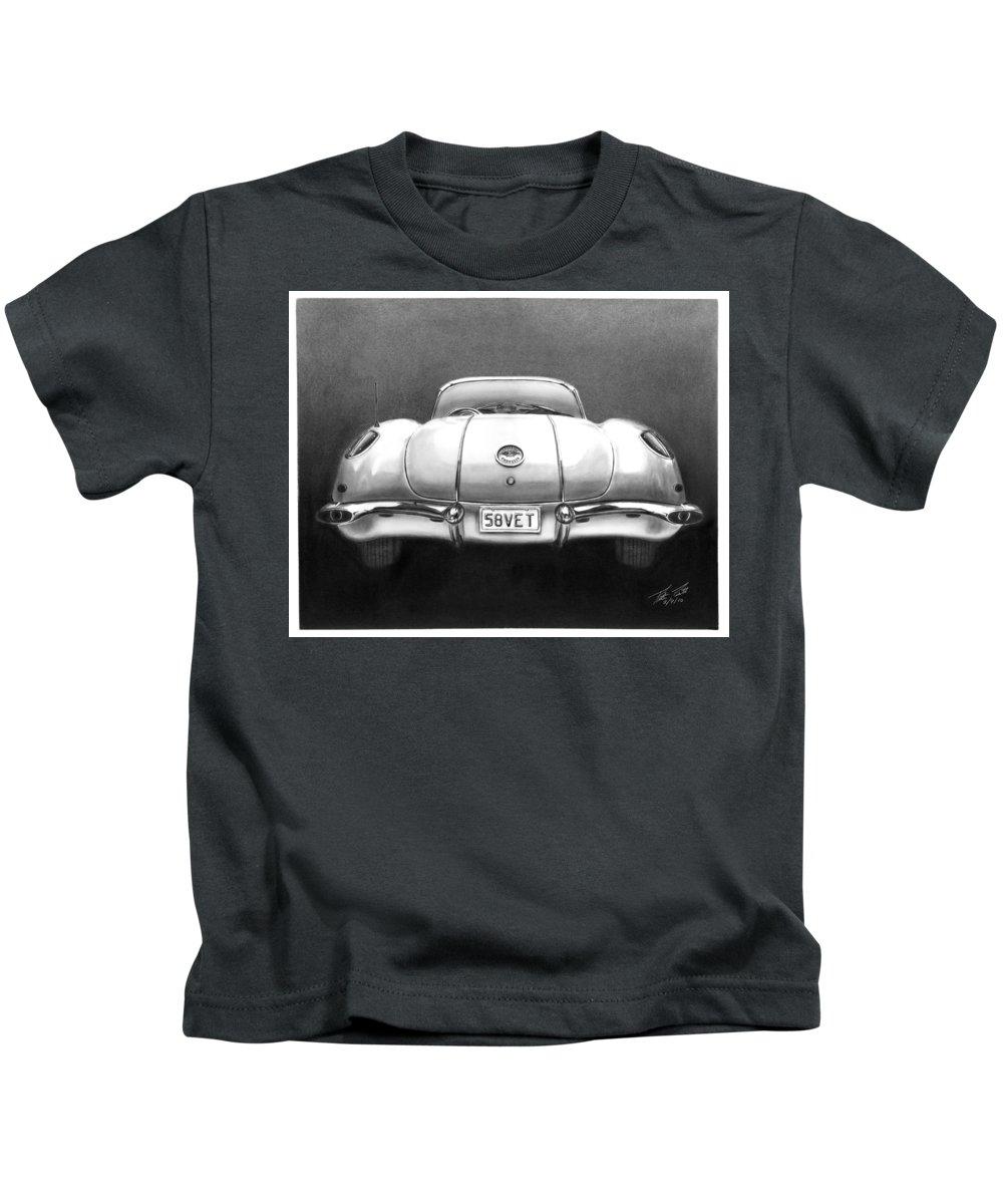 1958 Corvette Kids T-Shirt featuring the drawing 58vet by Peter Piatt