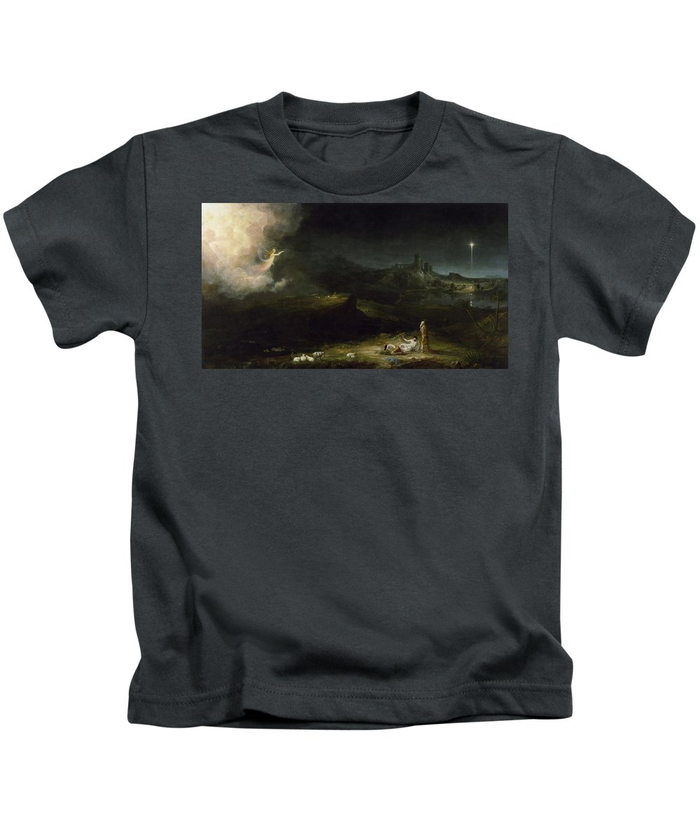 Thomas Cole Kids T-Shirt featuring the painting The Angel Appearing To The Shepherds by Thomas Cole