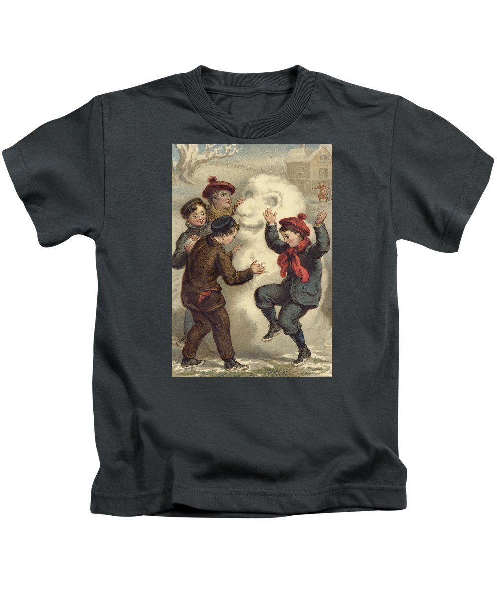 Snowman Kids T-Shirt featuring the painting Vintage Christmas Card by English School