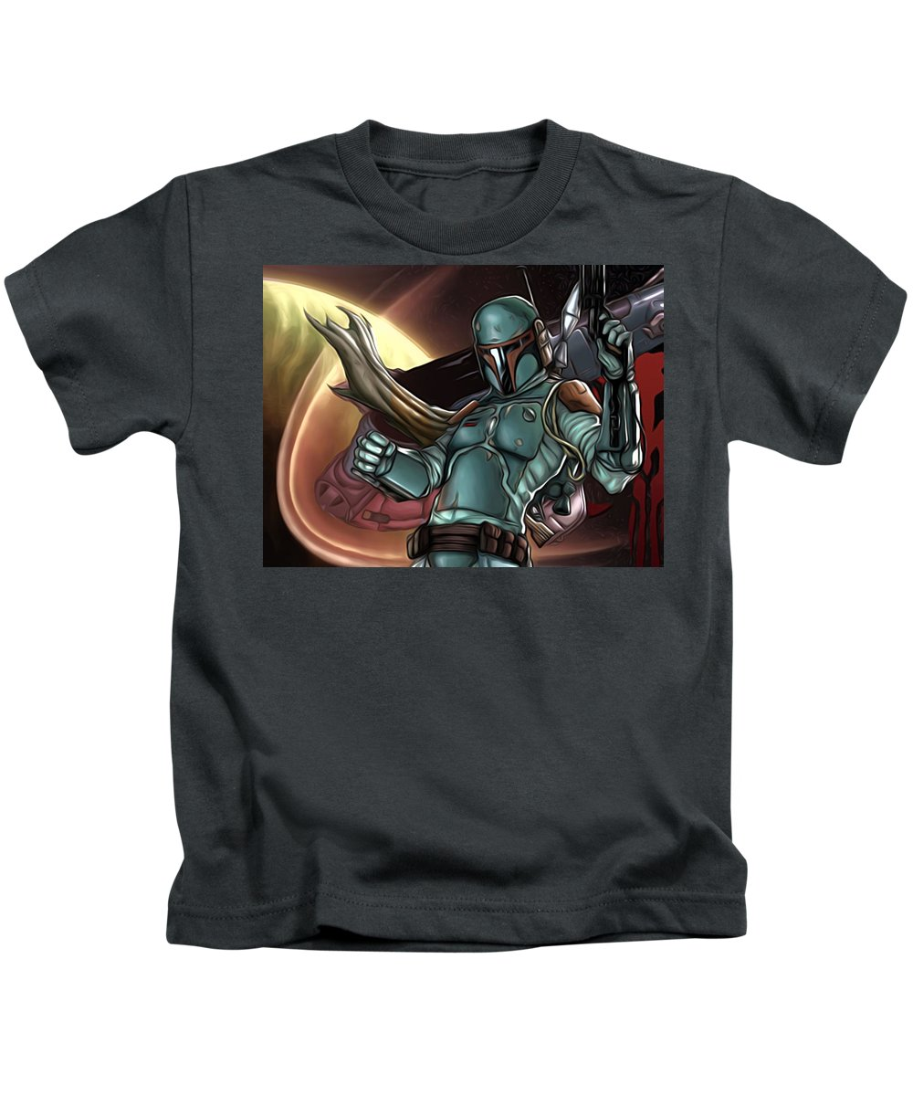 Star Wars Kids T-Shirt featuring the digital art Star Wars On Poster by Larry Jones