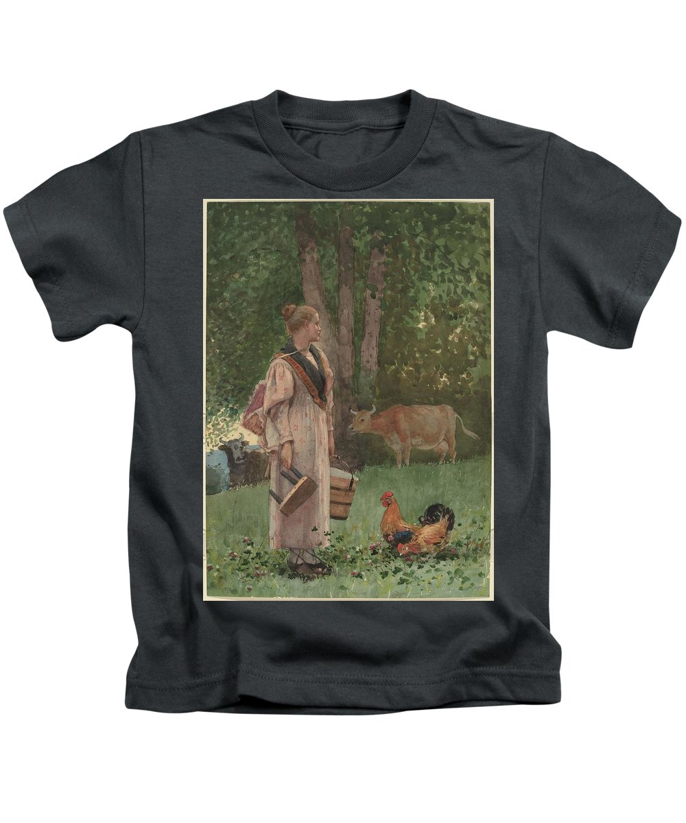 Winslow Homer - The Milk Maid (1878) Kids T-Shirt featuring the painting The Milk Maid by MotionAge Designs
