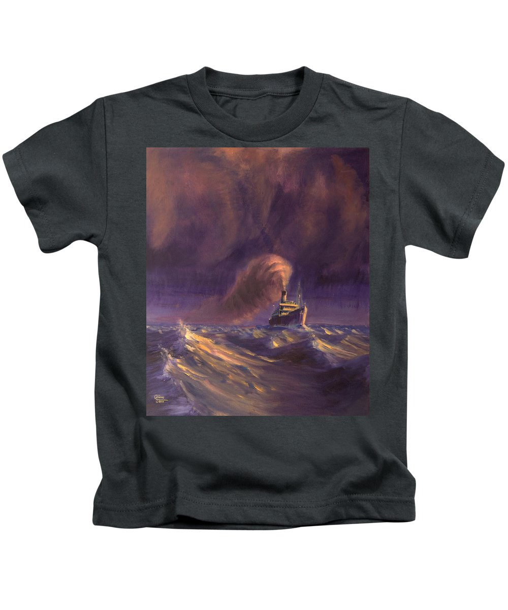 Ship Kids T-Shirt featuring the painting 8000 Miles From Home by Christopher Jenkins