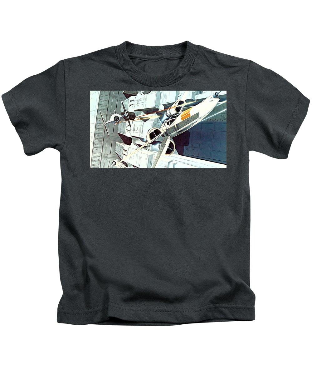 Star Wars Kids T-Shirt featuring the digital art Trilogy Star Wars Art by Larry Jones