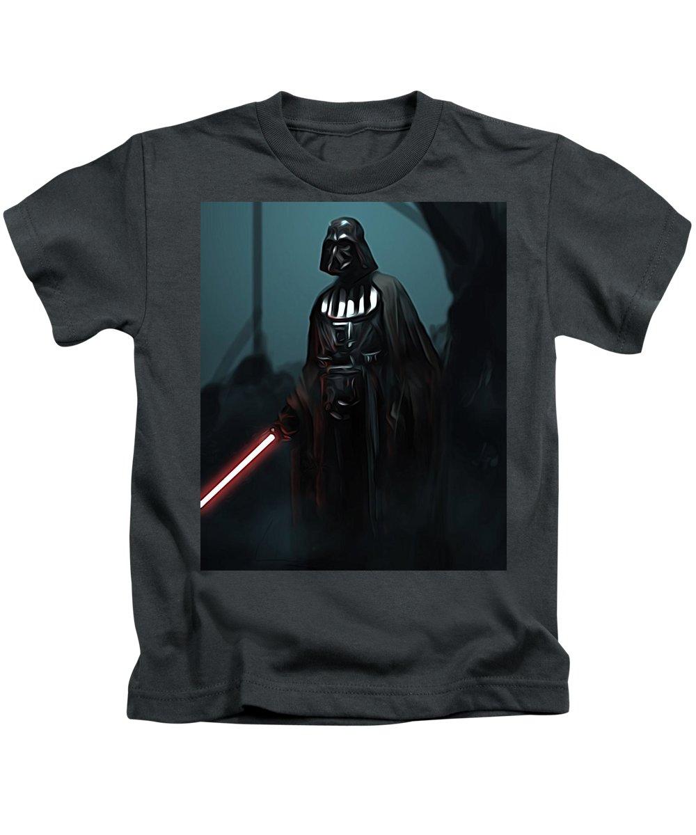 Star Wars Kids T-Shirt featuring the digital art Video Star Wars Poster by Larry Jones