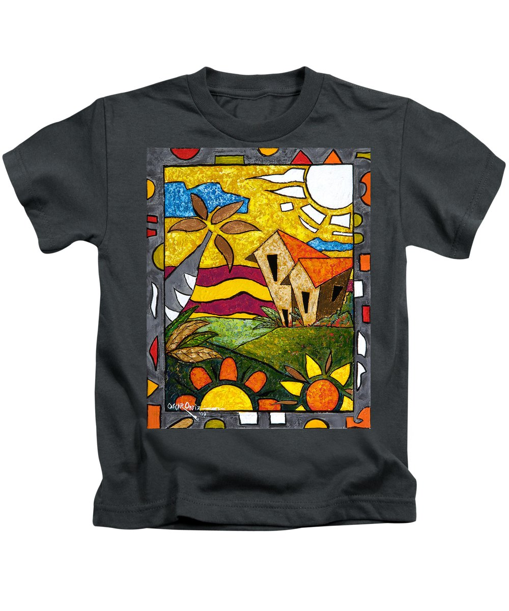 Puerto Rico Kids T-Shirt featuring the painting A Beautiful Day by Oscar Ortiz