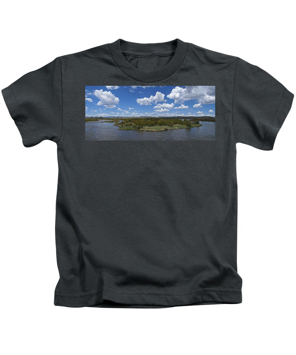 River Kids T-Shirt featuring the photograph A Bend In The River by Heather Coen