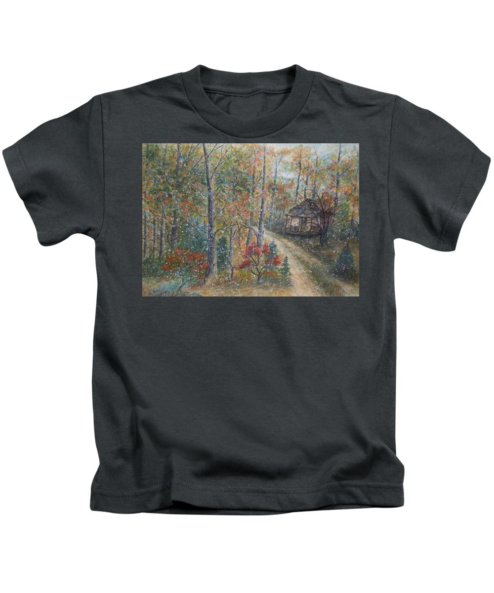 Country Road; Old House; Trees Kids T-Shirt featuring the painting A Bend in the Road by Ben Kiger