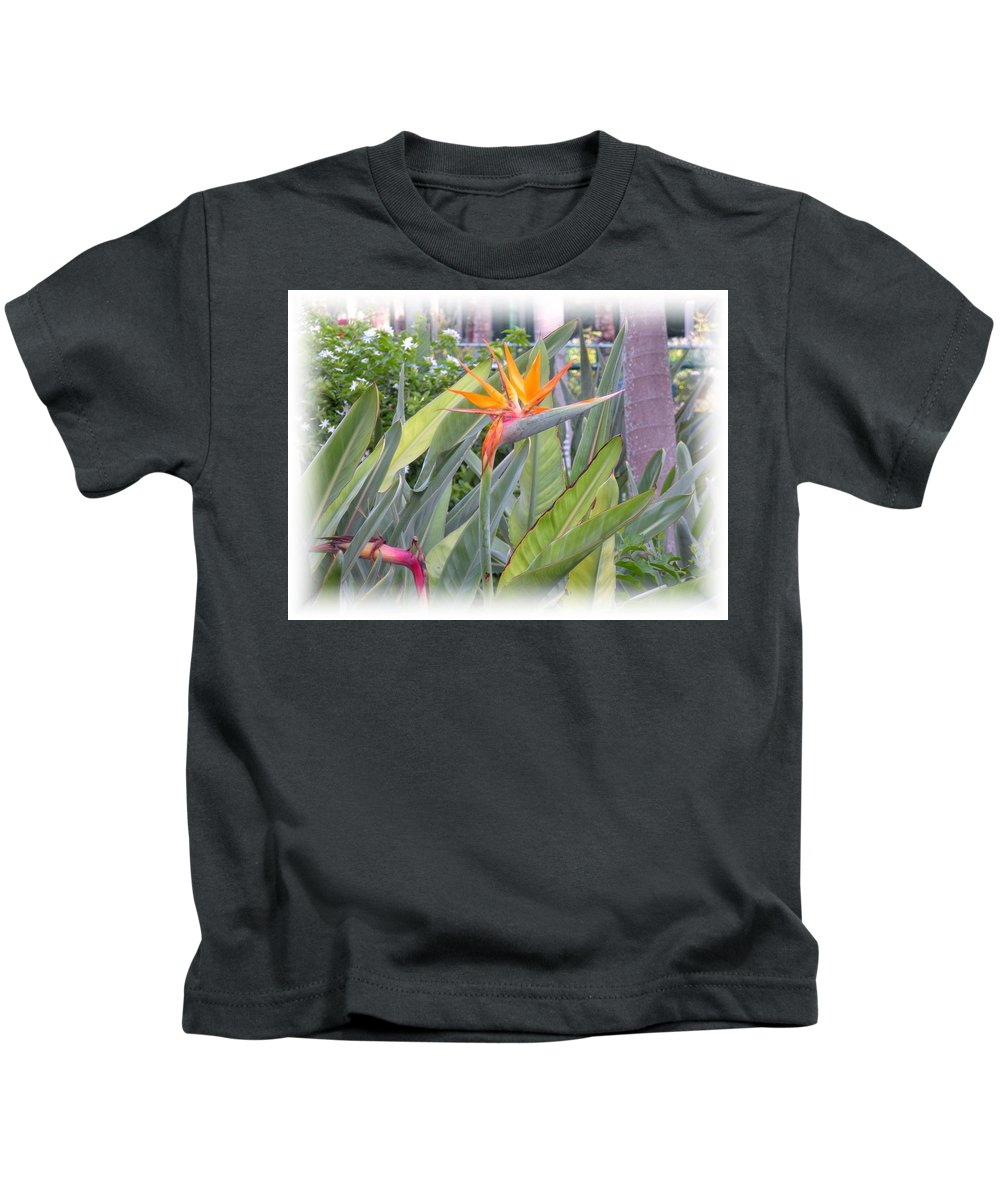 Plant Kids T-Shirt featuring the photograph A Bird In Paradise by Maria Bonnier-Perez