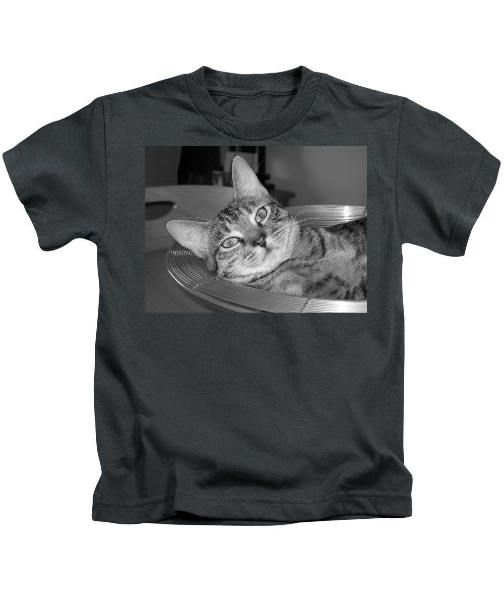 Cat Kids T-Shirt featuring the photograph A Bowl Of Ginger by Maria Bonnier-Perez