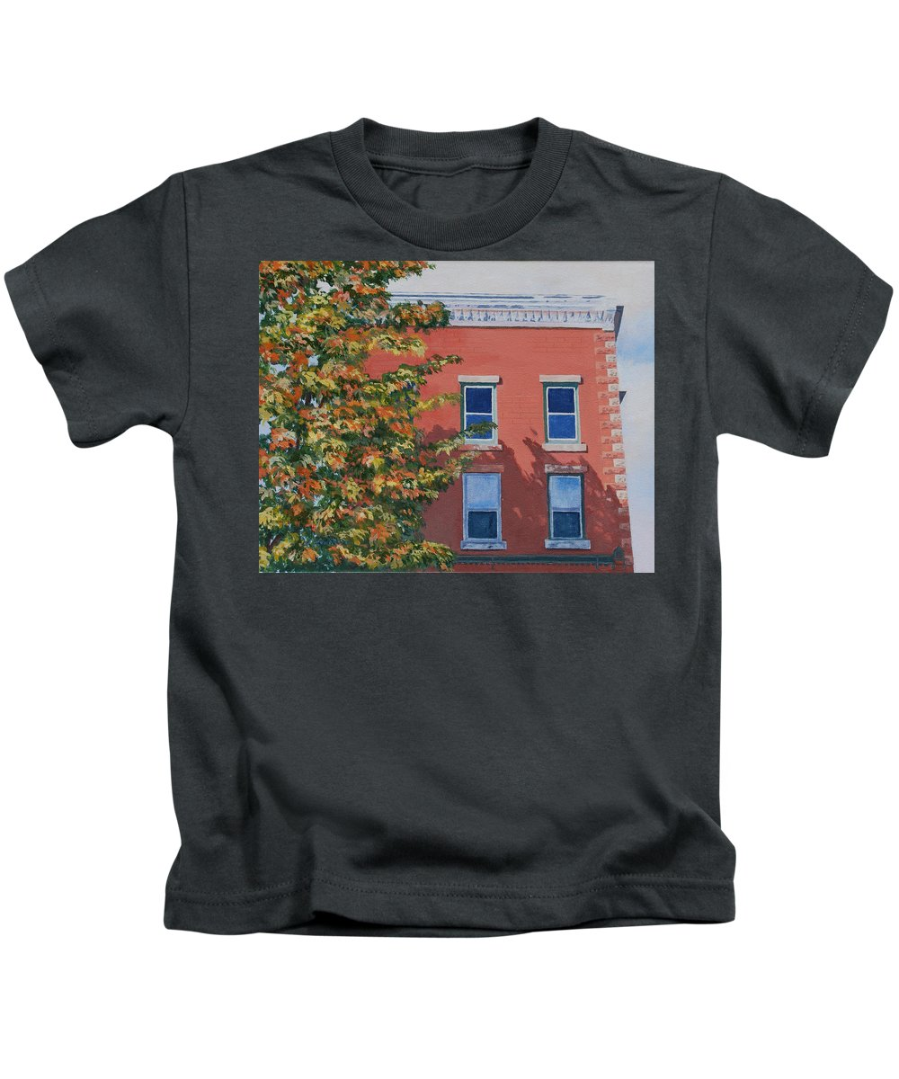 Acrylic Kids T-Shirt featuring the painting A Brick In Time by Lynne Reichhart