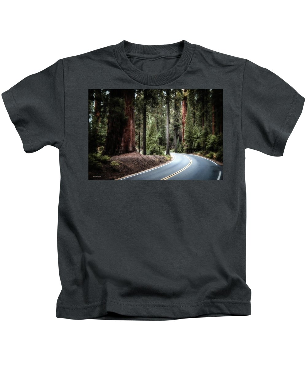 Sequoia Kids T-Shirt featuring the photograph A Bright Future Around The Bend by Andrea Platt