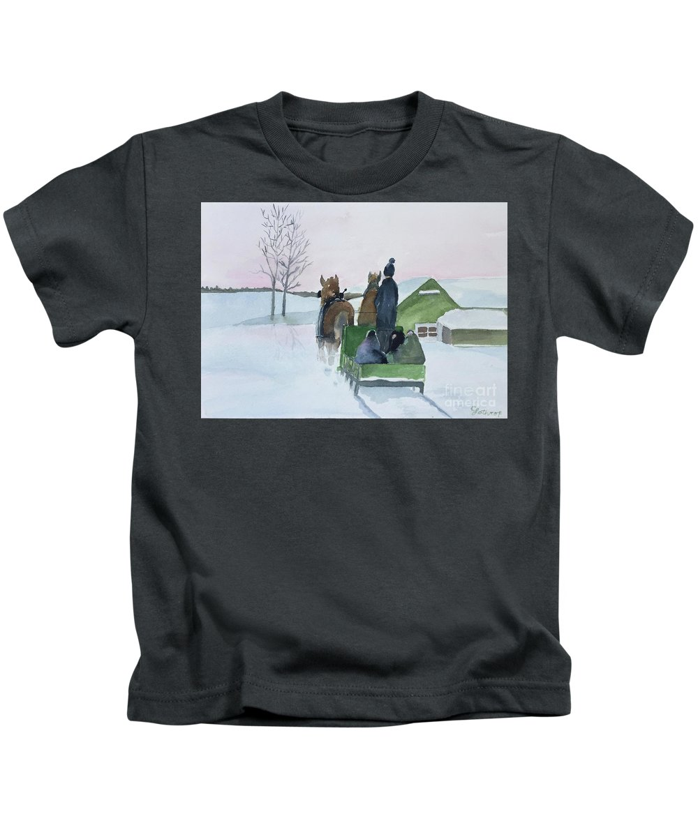 Cold Kids T-Shirt featuring the painting A Cold Ride by Christine Lathrop