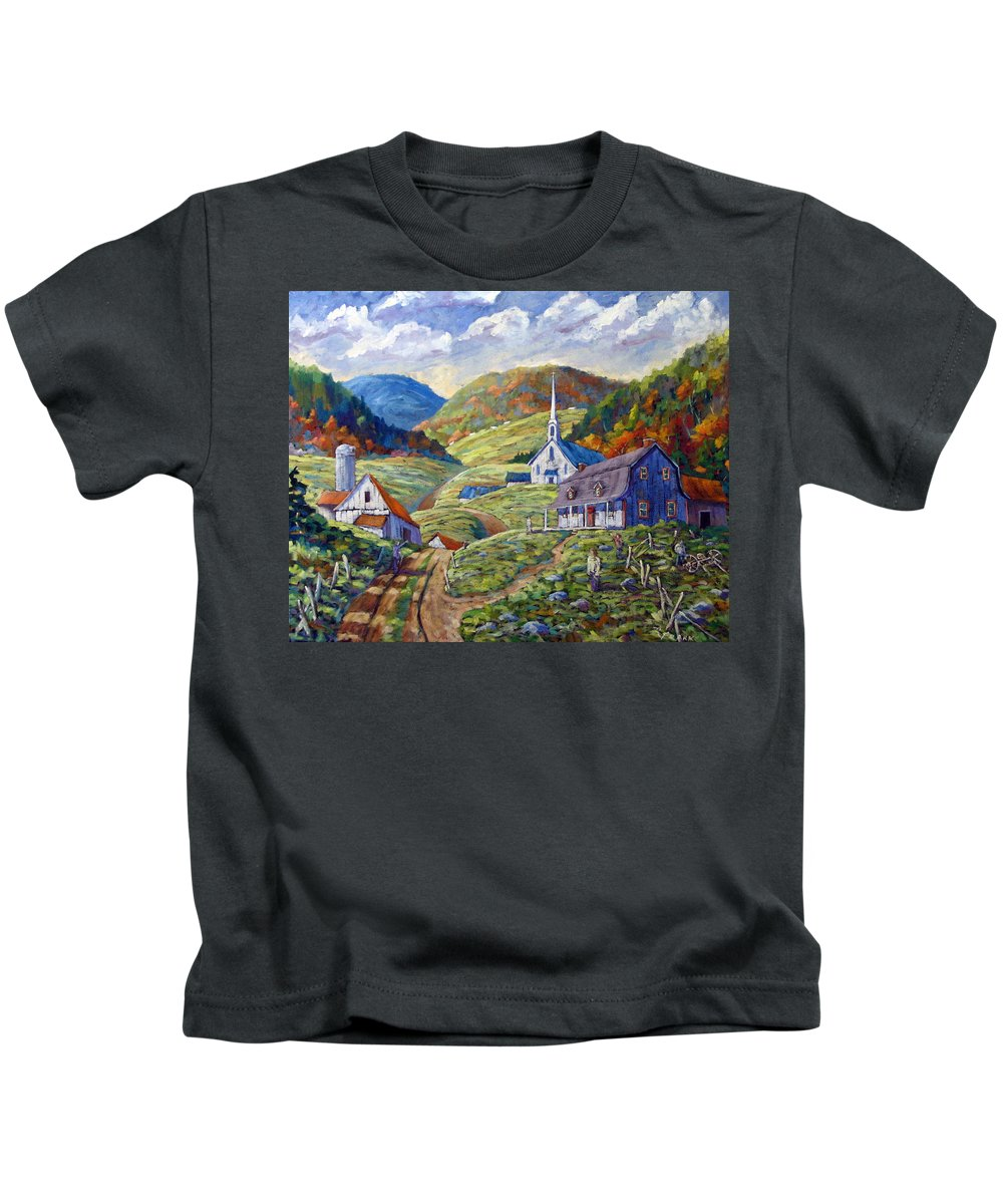 Landscape Kids T-Shirt featuring the painting A Day In Our Valley by Richard T Pranke