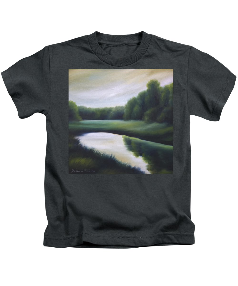 Nature; Lake; Sunset; Sunrise; Serene; Forest; Trees; Water; Ripples; Clearing; Lagoon; James Christopher Hill; Jameshillgallery.com; Foliage; Sky; Realism; Oils; Green; Tree Kids T-Shirt featuring the painting A Day In The Life 3 by James Christopher Hill