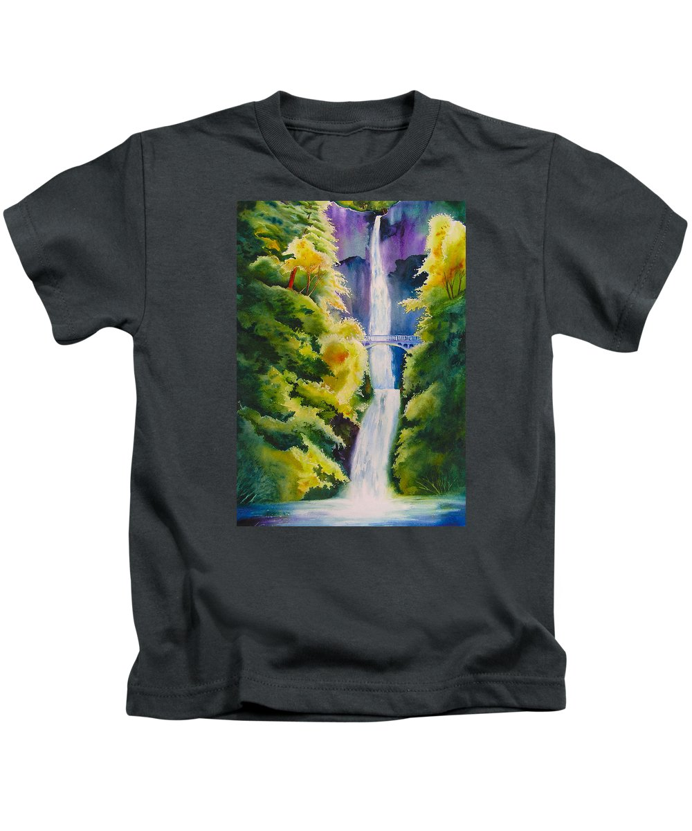 Waterfall Kids T-Shirt featuring the painting A Favorite Place by Karen Stark