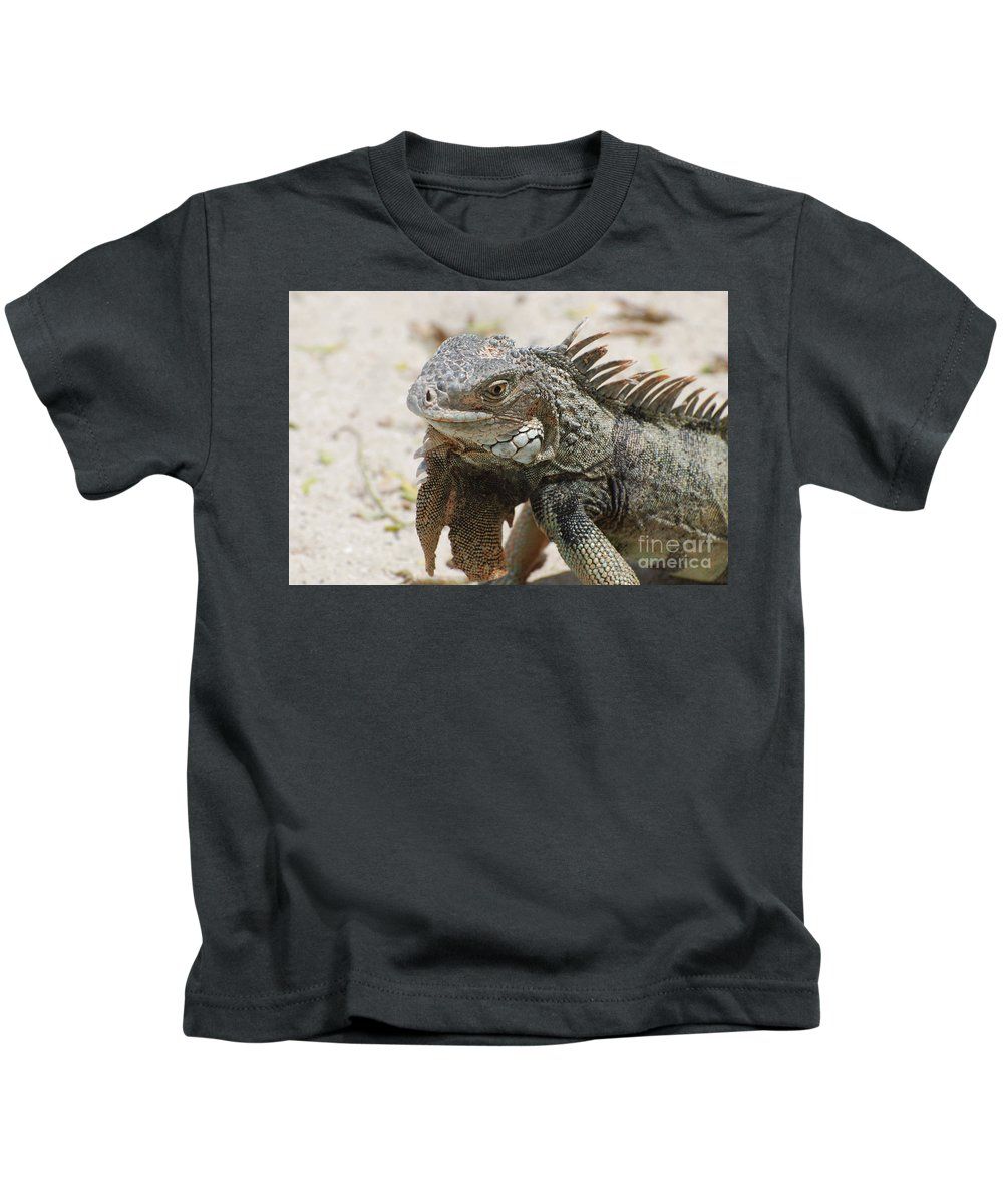 Iguana Kids T-Shirt featuring the photograph A Gray Iguana With Spines Along It's Back by DejaVu Designs