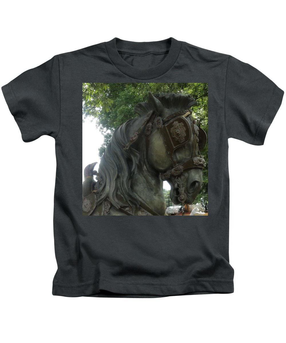 Horse Kids T-Shirt featuring the photograph A Handsome Steed by Lisa Victoria Proulx