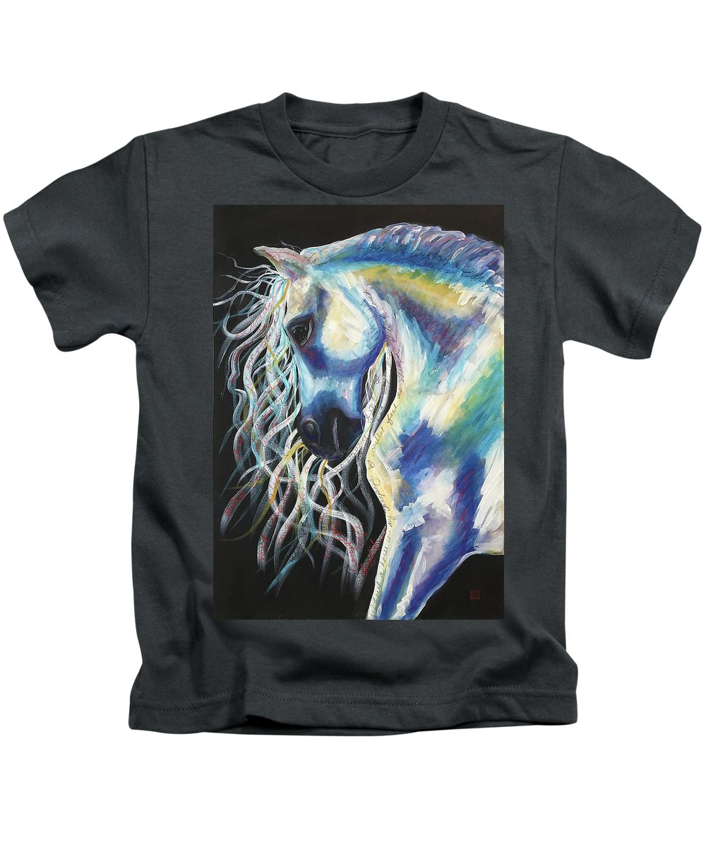 Horse Kids T-Shirt featuring the painting A Horse In My Keeping ... by Gina Rossi armfield