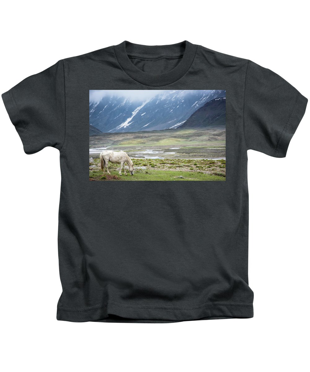 Landscape Kids T-Shirt featuring the photograph A Horse With No Name by Siddhartha De