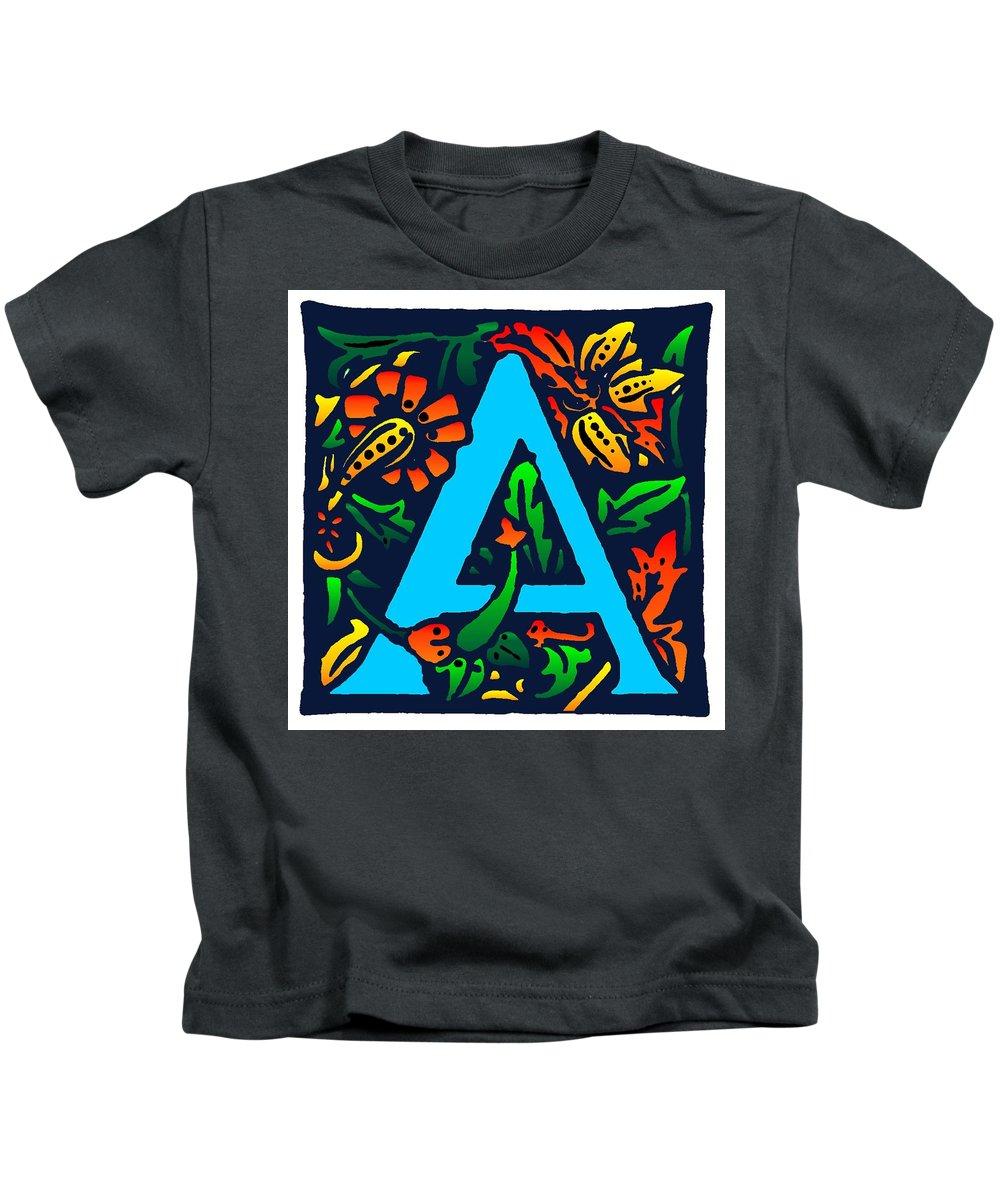 Alphabet Kids T-Shirt featuring the digital art A In Blue by Kathleen Sepulveda