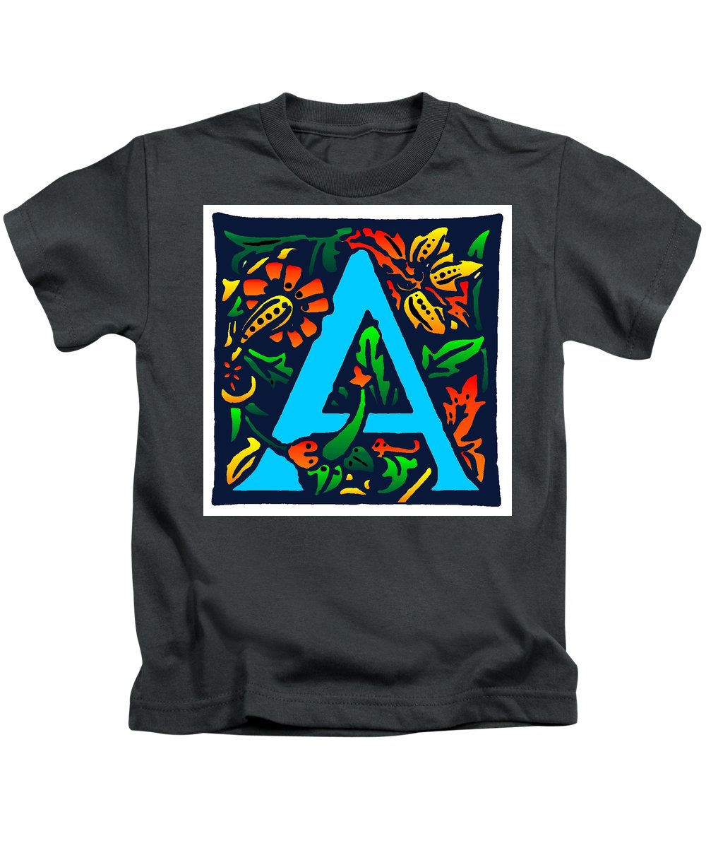 Alphabet Kids T-Shirt featuring the digital art A In Blue by Kathleen Sepulveda