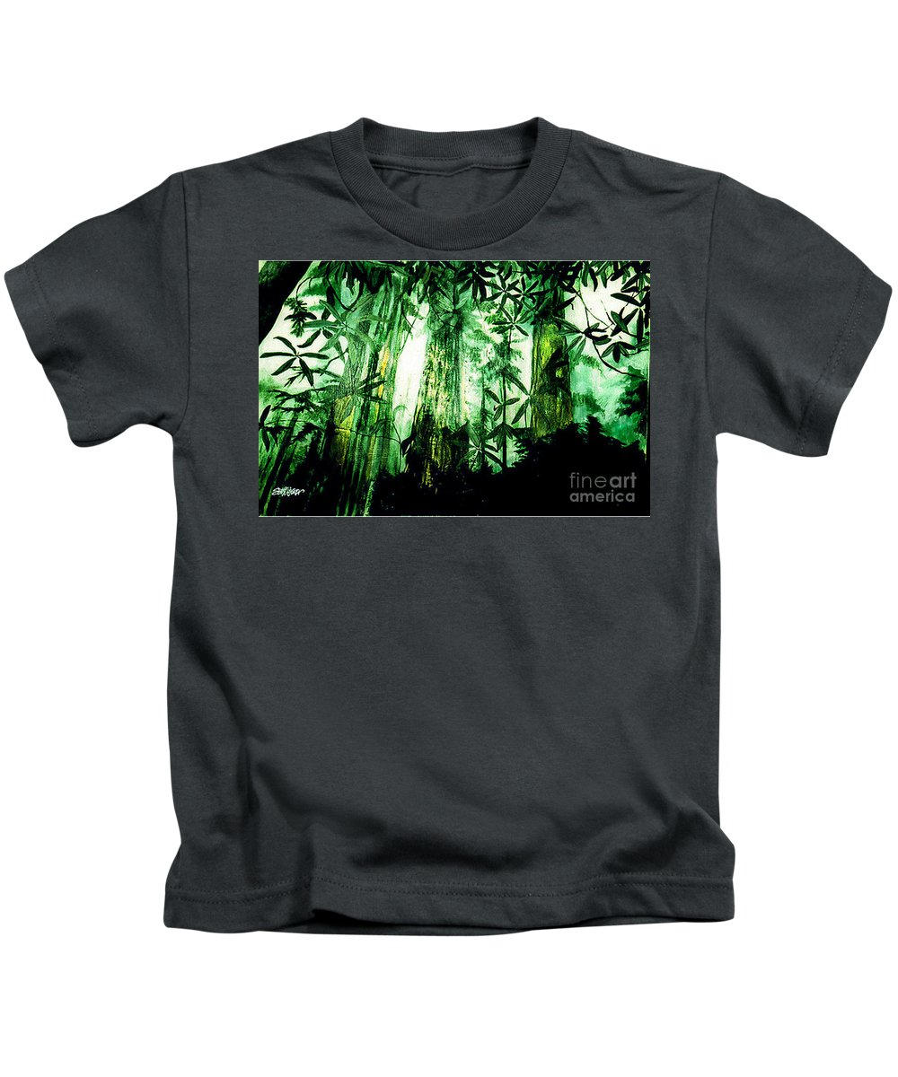 A Light In The Forest Kids T-Shirt featuring the painting A Light in the Forest by Seth Weaver
