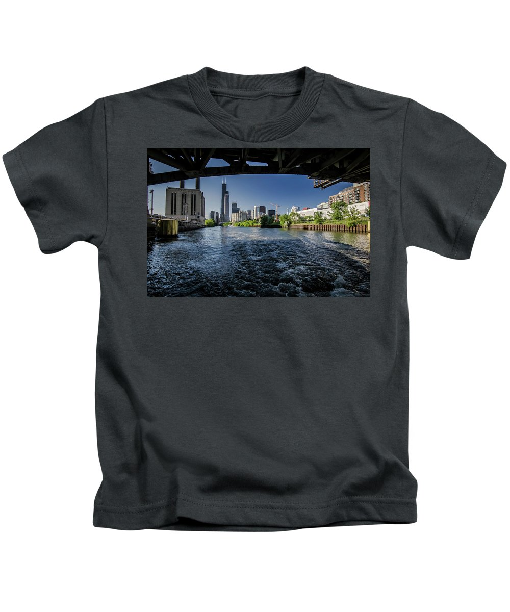 Roosevelt Road Bridge Kids T-Shirt featuring the photograph A Look At The Chicago Skyline From Under The Roosevelt Road Bridge by Sven Brogren