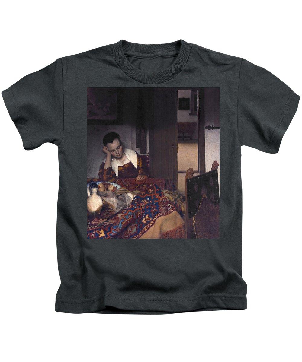 Jan Vermeer Kids T-Shirt featuring the painting A Maid Asleep by Jan Vermeer
