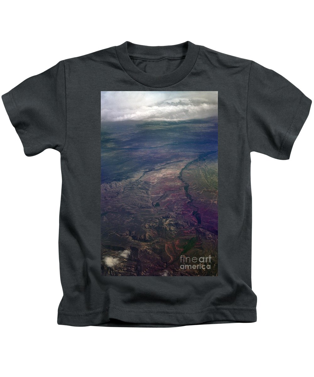 Aerial Photography Kids T-Shirt featuring the photograph A Midwestern Landscape by Richard Rizzo